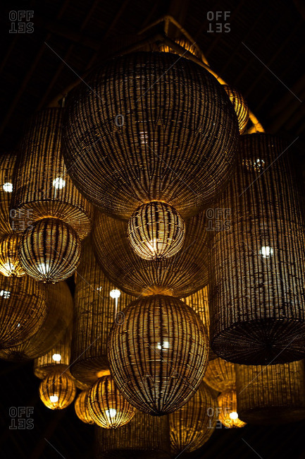 Cluster of lanterns in darkness
