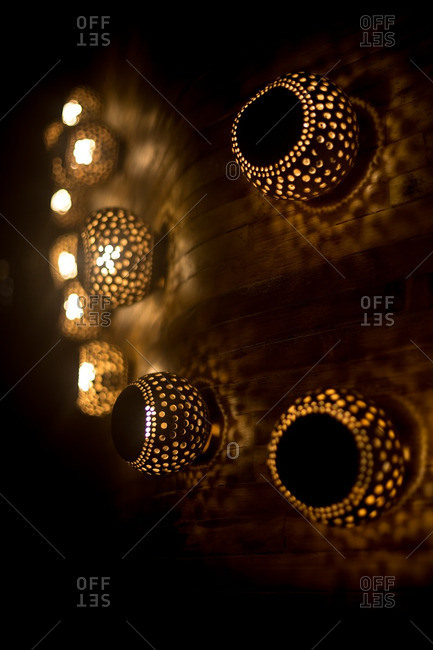 Light fixtures on wood