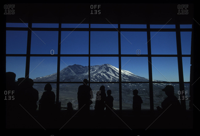 Skamania County, Washington - June 10, 2014: Tourists with view of Mount St. Helens