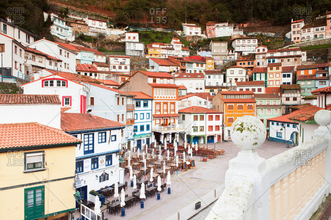 Cudillero, Spain - April 12, 2013: Ornate buildings on hillside