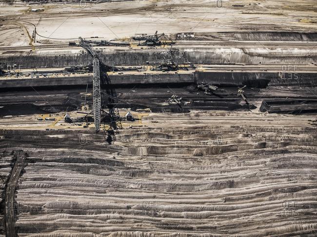 Aerial view of strip coal mining field
