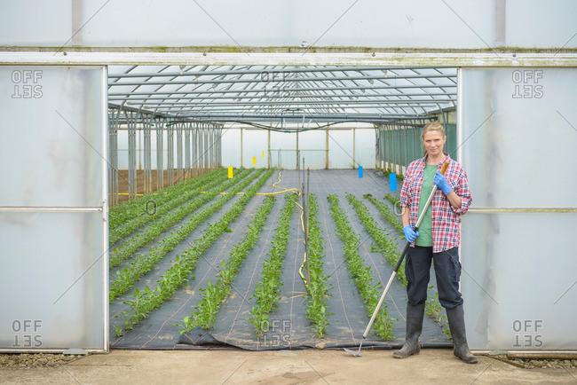 Farm worker standing outside polytunnel on herb farm, portrait