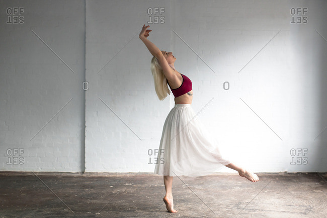 Dancer practicing in studio