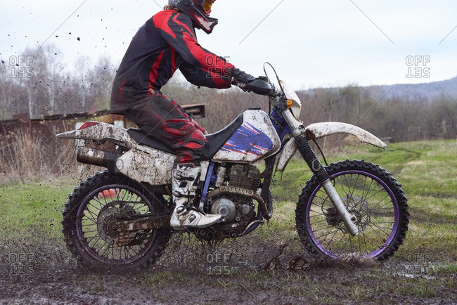 Extreme motocross racing in rural area