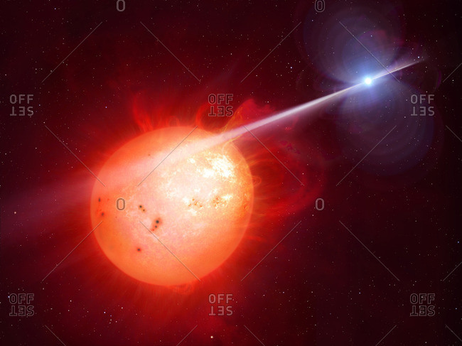 Illustration depicting the binary star AR Sco