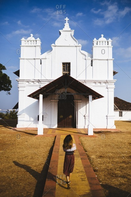 A small church on a hillside in Goa, India