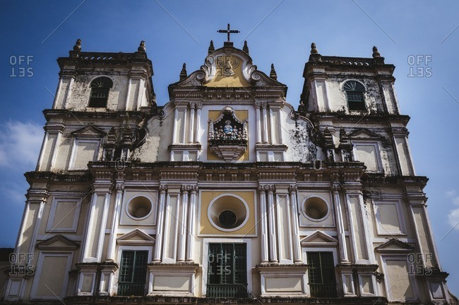 The facade of an old Catholic church in Margao, India