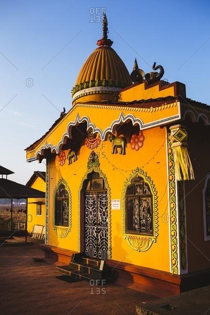 Goa, India - January 17, 2016: A small Hindu temple near Anjuna Beach in northern Goa, India