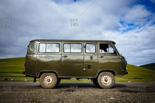 Mongolia - July 10, 2016: An old Russian van on the road in northern Mongolia