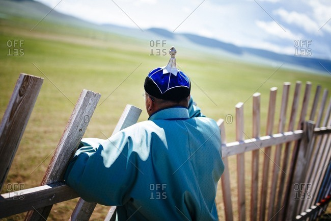 A Mongolian man in traditional dress at the Naadam festival in Tsagaannuur northern Mongolia