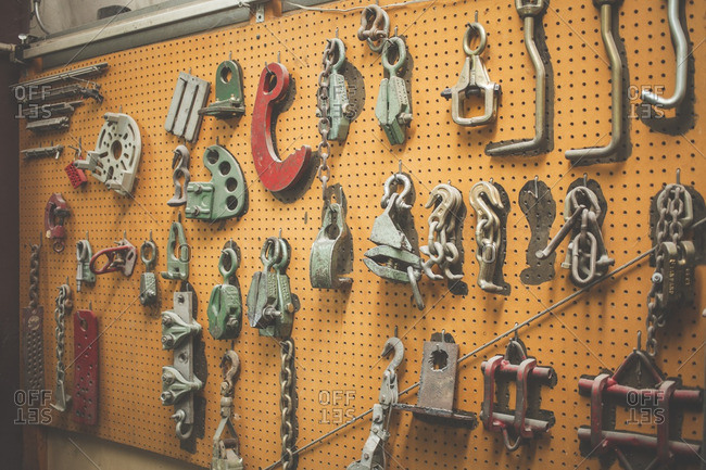 August 8, 2016: Auto towing tools on pegboard
