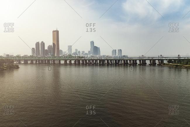 Cityscape and Bridge over river in Seoul, South Korea