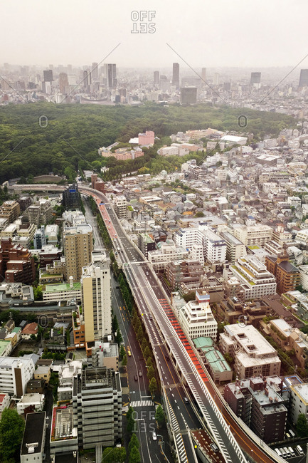 Aerial view of Tokyo road amidst cityscape