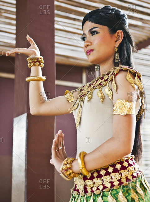 Cambodia - February 7, 2009: Young woman performing a Cambodian classical folk dance