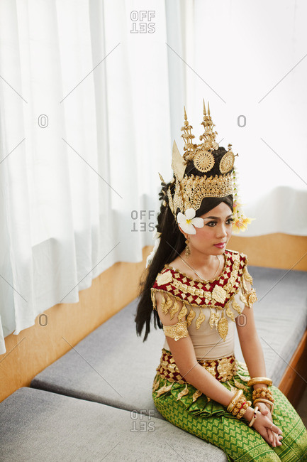 Cambodia - February 7, 2009: Young woman dancer wearing traditional Cambodian clothing for a dance