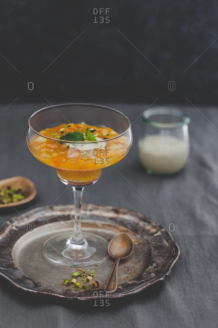 Apricot elderflower jelly served in a glass