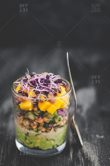 Avocado, lentil and mango verrine