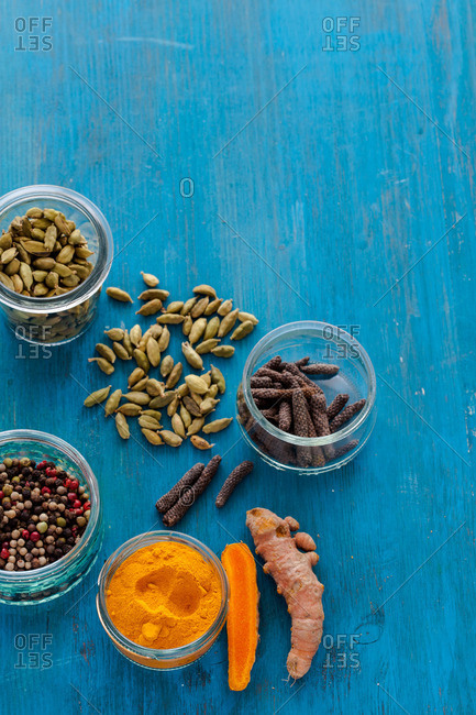 Spices on a blue table