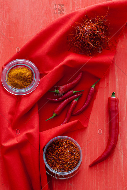 Spices on a red background