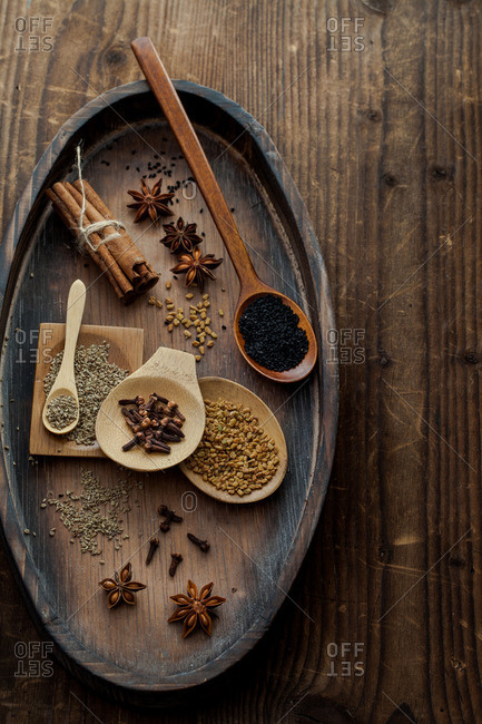 Spices on a wood tabletop