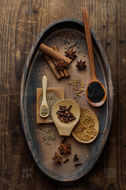 Spices on a wood table