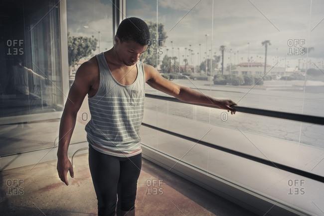 Male ballerina in a studio