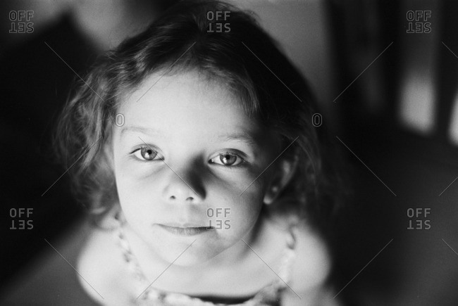 Close up of a little girl with wavy hair