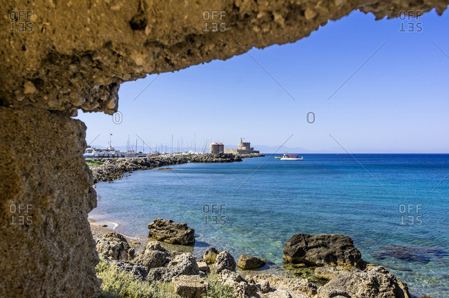 Greece- Rhodes- mole of Mandraki harbour with windmills