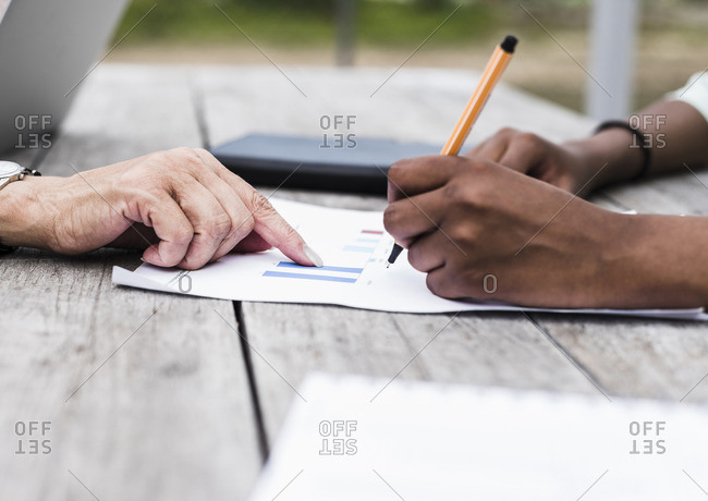 Hand of businesswoman pointing on graph