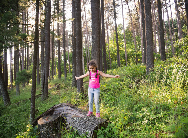 Girl standing on a log in the forest