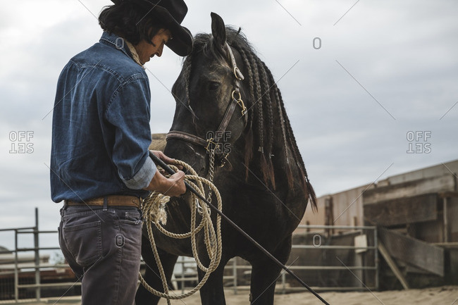 Horse with braided mane waits patiently with cowboy
