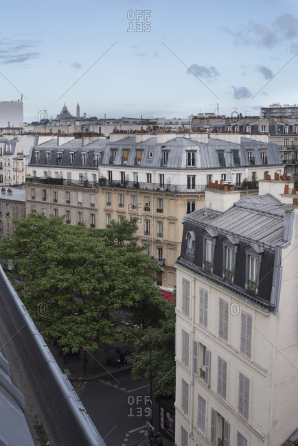 Paris, France - July 2, 2016: Rooftops of buildings