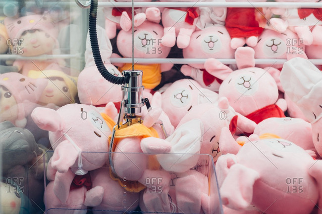 August 10, 2016: Claw machine filled with stuffed toy rabbits