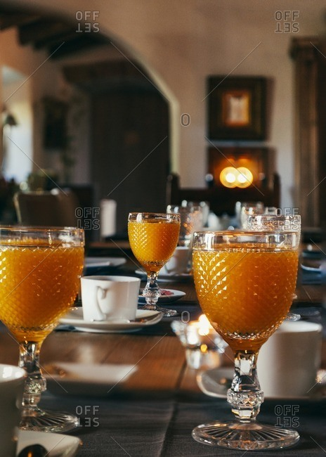 Orange juice in goblets