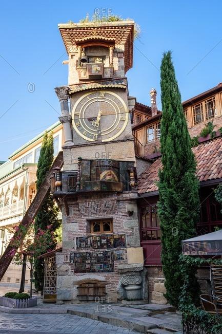Leaning Clock Tower in Tbilisi, Georgia