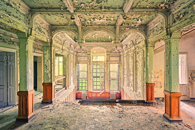 Upper floor of an abandoned mansion