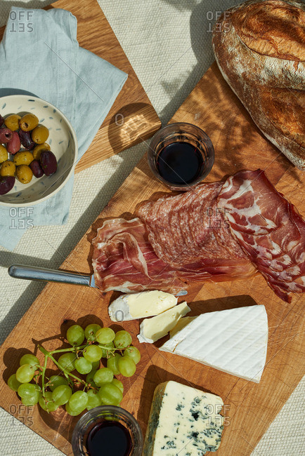 Charcuterie and snacks on wooden boards