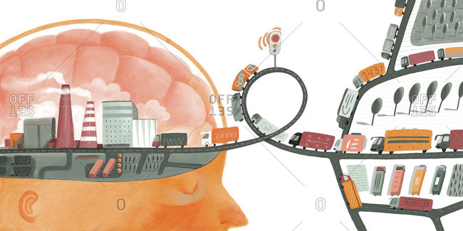 Brain with delayed traffic input
