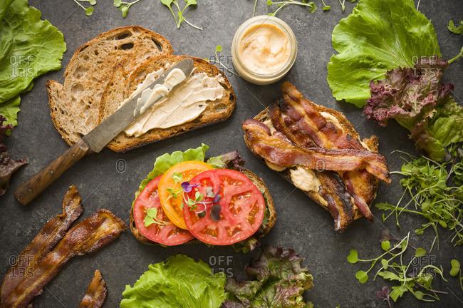 Assembling a BLT sandwich