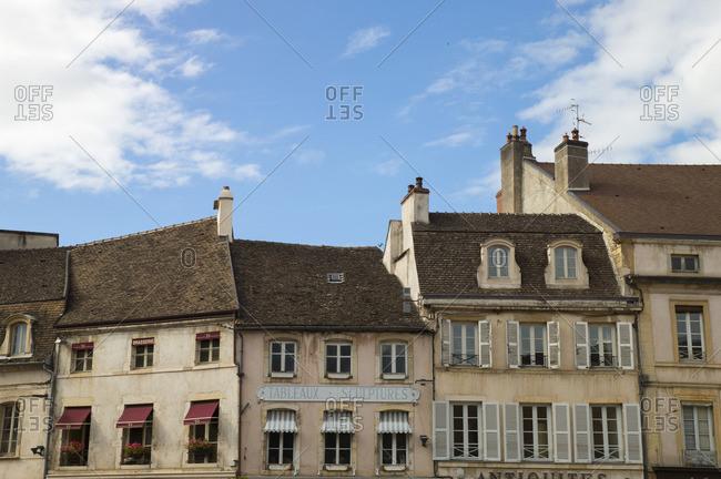 June 28, 2016: Roofline of buildings in Beaune, France