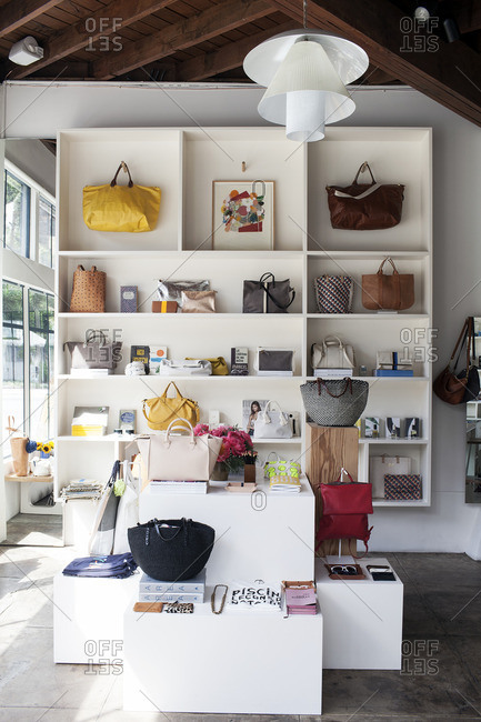 May 14, 2015: Interior of a boutique with handbags