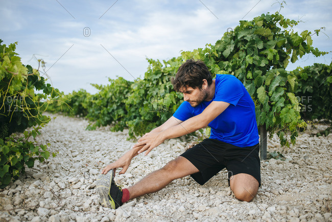 Man doing stretching in a vineyard