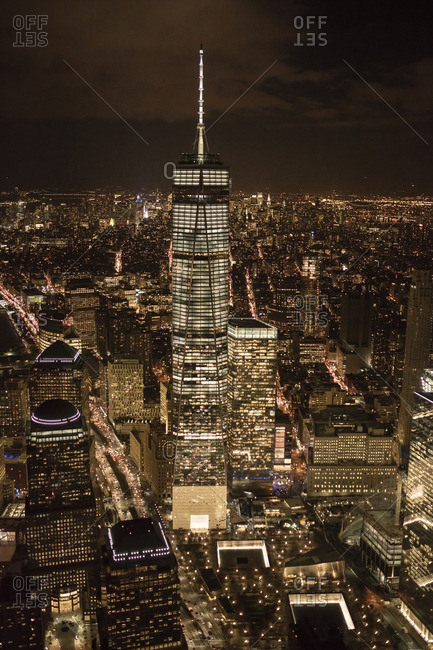 November 24, 2015: Aerial view of One World Trade Center in New York City