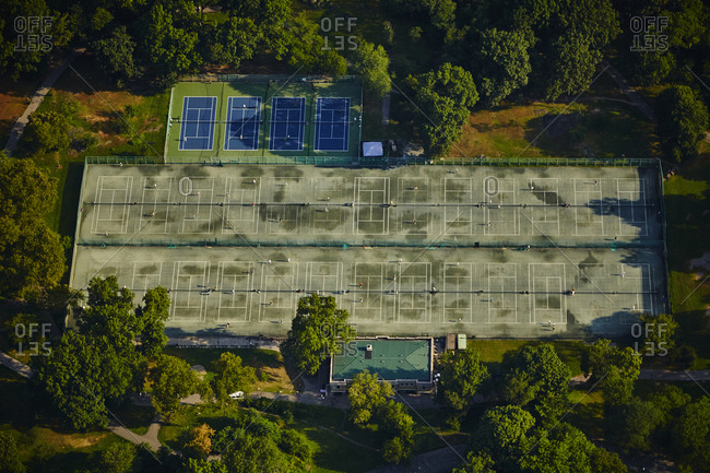Aerial of tennis courts in Central Park in New York City