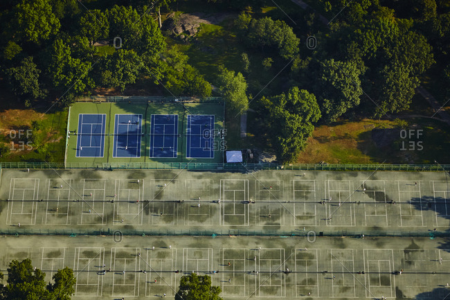Aerial view of tennis courts in Central Park in New York City