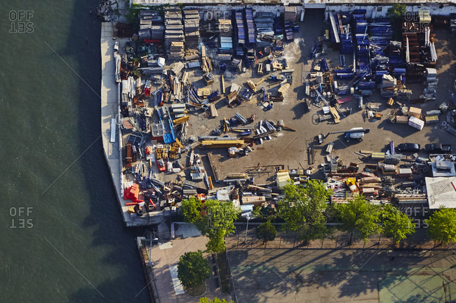Aerial view of a scrap yard in New York City