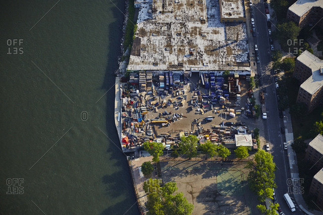 Aerial of a scrap yard in New York City
