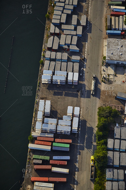 July 28, 2015: Aerial view of an industrial area in New York City