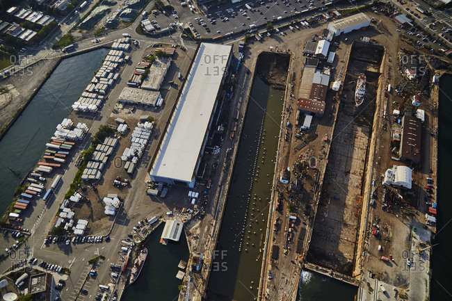 Overhead view of a dry dock in New York City