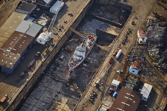 July 28, 2015: Aerial view of a shipyard in New York City